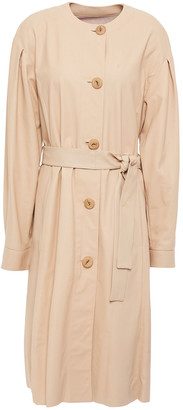 Drome Belted Gathered Leather Coat