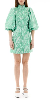 Ganni Balloon Sleeve Mini Dress