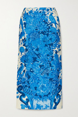 Valentino Printed Wool And Silk-blend Midi Skirt - Blue