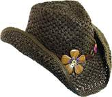 Dorfman Pacific Womens Paper Western Hat w/ Wood Flowers & Tail Feathers