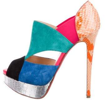 Christian Louboutin Suede Caged Sandals