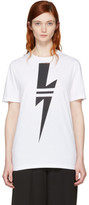 Neil Barrett White Double Stripe Thunderbolt T-shirt