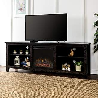 """WE Furniture Minimal Farmhouse Wood Fireplace Stand for TV's up to 78"""" Living Room Storage"""