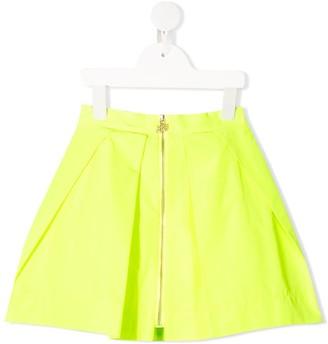 Mi Mi Sol Box-Pleated Zip-Up Skirt