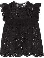 Zimmermann Meridian Ruffle-trimmed Broderie Anglaise Top - Black