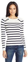 Vero Moda Women's Sagar Stripe Sweater with Button Shoulder