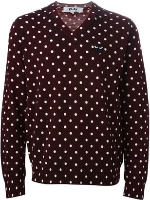 Comme des Garcons polka dot V-neck sweater