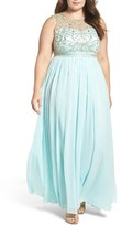 Decode 1.8 Plus Size Women's Beaded Illusion A-Line Gown