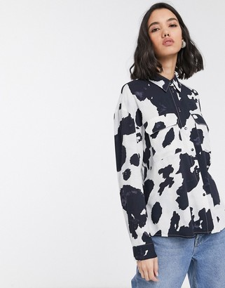 Only shirt with pockets in cow print-Multi