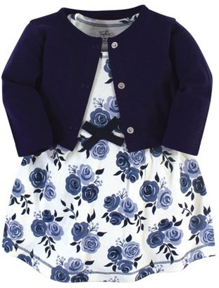 Touched by Nature Baby and Toddler Girl Organic Dress & Cardigan, 2pc Outfit Set