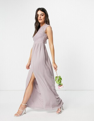 TFNC bridesmaid lace open back maxi dress in grey