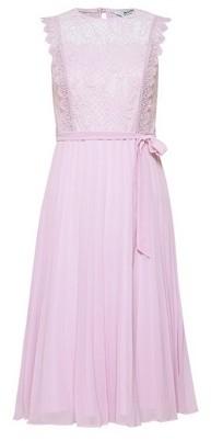 Dorothy Perkins Womens Dp Petite Lilac Lace Pleated Midi Dress