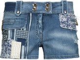 Just Cavalli Distressed patchwork denim shorts