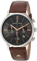 Maurice Lacroix Men's 'Eliros' Quartz Stainless Steel and Leather Casual Watch, Color:Brown (Model: EL1098-SS001-311-1)