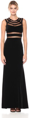 Betsy & Adam Womens Long Black Velvet Dress with Mesh Inserts Color Black Size 8
