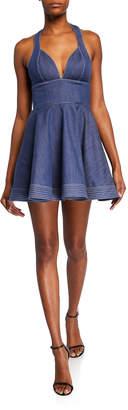 Alexis Tarrana Halter Flounce Chambray Short Dress