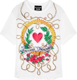 Boutique Moschino White Printed Cotton T-shirt