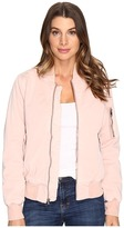 Hudson Gene Puffy Bomber Jacket in Sunkissed Pink Destructed
