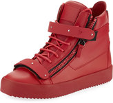 Giuseppe Zanotti Men's Smooth Leather High-Top Sneaker, Red