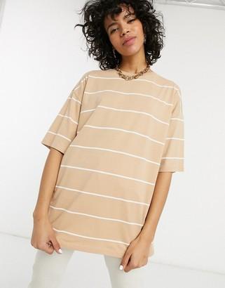 Asos DESIGN oversized t-shirt with fine stripe in stone and white