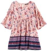 My Michelle Girls 7-16 Open Sleeve Border Dress