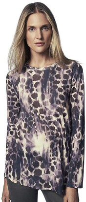 b new york Women's Long Sleeve Printed Pleat Front Top