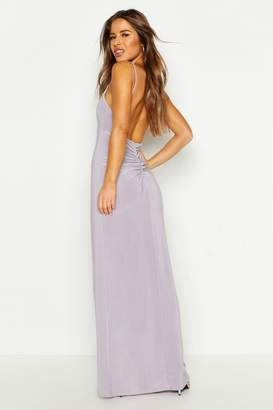 boohoo Petite Ruched Low Back Maxi Dress