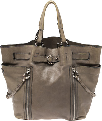 Dolce & Gabbana Pale Green Leather Double Side Zip Tote