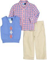 Good Lad Blue & Orange Plaid Button-Up Shirt Set - Infant