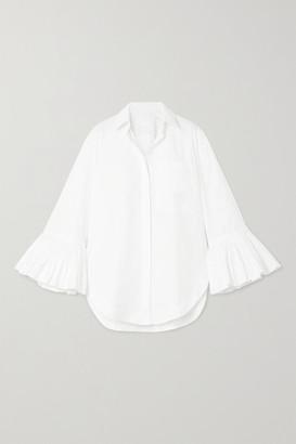 Valentino Ruffled Cotton-poplin Blouse - White
