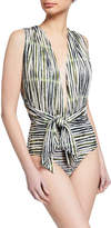 Convertible Halter Tie-Neck One-Piece Swimsuit