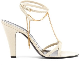 Saint Laurent Sue Chain-embellished Leather Sandals - Cream