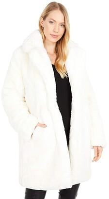 Apparis Sasha Long Faux Fur Coat with Collar (Burgundy) Women's Clothing