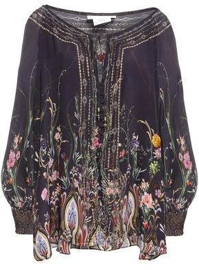 Camilla Wild Flower Crystal-embellished Printed Silk-chiffon Blouse