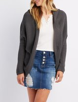 Charlotte Russe Shaker Stitch Lace-Up Back Hooded Cardigan
