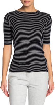 Vince Striped Elbow Sleeve Crew Neck Top