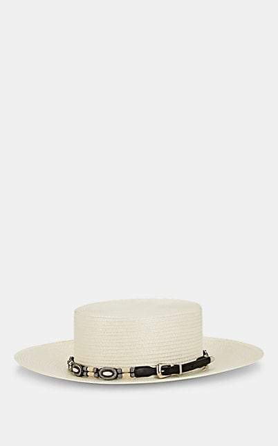 Saint Laurent Women's Embellished Gaucho Hat - White
