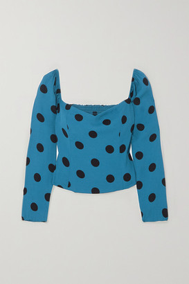 Reformation Marjorie Polka-dot Shirred Crepe Blouse - Blue