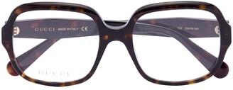 Gucci Havana square-frame glasses