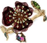 Betsey Johnson Gold-Tone Multi-Stone Flower Hinged Bangle Bracelet