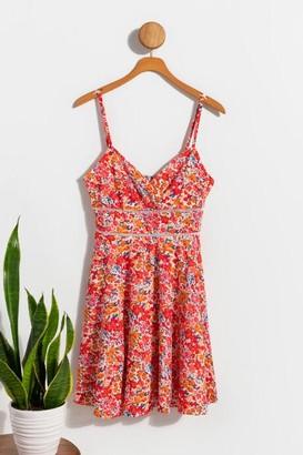 francesca's Odette Floral Ladder Trim Dress - Multi