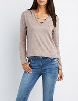 Charlotte Russe Marled Strappy Caged Hoodie