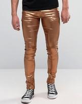 Asos Super Skinny Jeans In Metallic Bronze