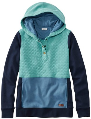 L.L. Bean Women's Quilted Sweatshirt, Hooded Pullover Colorblock