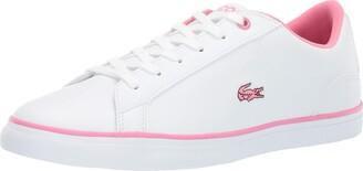 Lacoste Girls' Lerond Sneaker white/pink 5 Medium US Big Kid