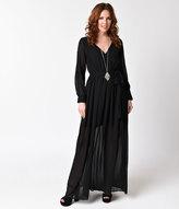 Unique Vintage 1970s Style Black Chiffon Long Sleeve Maxi Dress