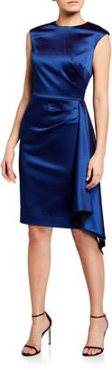 Rickie Freeman For Teri Jon Cap-Sleeve Side-Draped Satin Sheath Dress