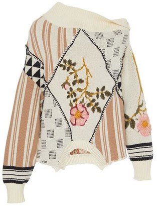Monse Upside Down Floral Patch Sweater