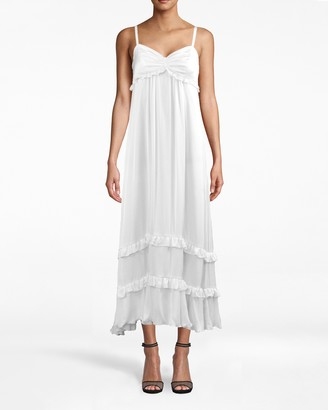 Nicole Miller Solid Silk With Picot Midi Dress