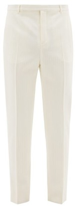 Saint Laurent Jacquard-striped Wool Suit Trousers - White